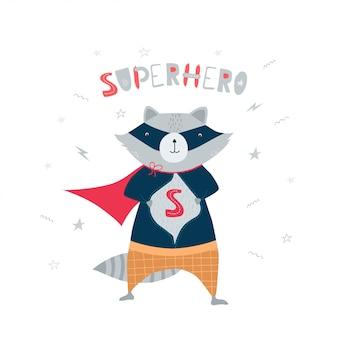 Милый, забавный енот в костюме супергероя