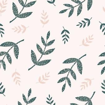 緑とベージュのシームレスなパターンは、明るい背景に枝と葉を手で描画スタイル