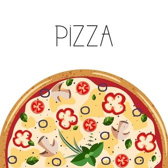 ピザボックスのバナー。全体ベジタリアンピザの背景。