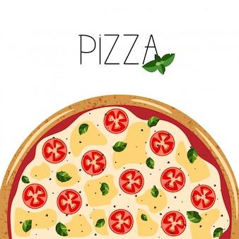 ピザボックスのバナー。全体マルガリータピザ、バジルの背景。