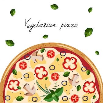 ベジタリアンピザ、ハーブ、手の手紙。分離したベクトル図