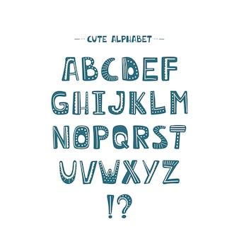 青いベクトル漫画アルファベットフォントのタイポグラフィ