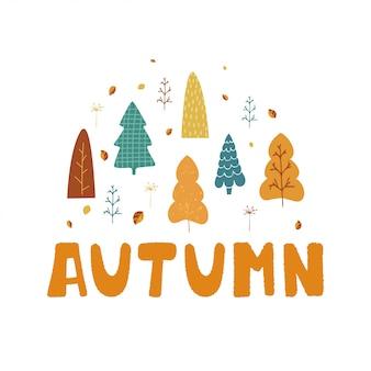 木、葉、漫画のスタイルで秋をレタリングの手の図。