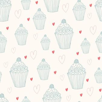 カップケーキと心の甘いシームレスパターン。落書きスタイル手描き