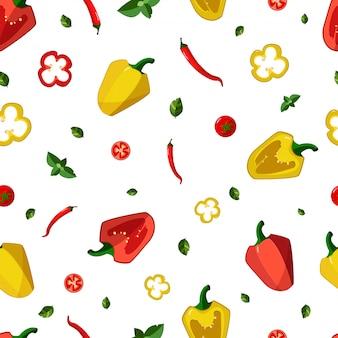 野菜、コショウ、トマト、チリ、バジルのシームレスパターン