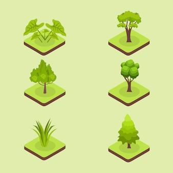 Набор изометрических зеленых растений