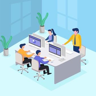 ビジネスの人々に会います。チームワーク。会社の事業戦略の議論
