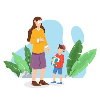 С днем матери, мальчик дарит маме подарок