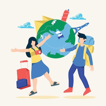 幸せな若いカップルがバッグと荷物で世界中を旅します。