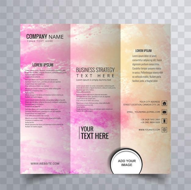 現代的な三つ組のパンフレットデザイン