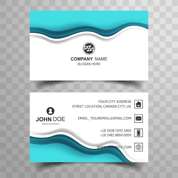 抽象的な青い波の名刺デザイン