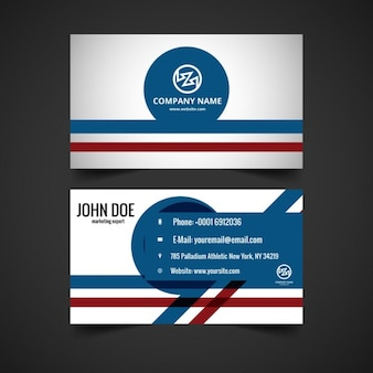 Визитная карточка в цветах синий и красный