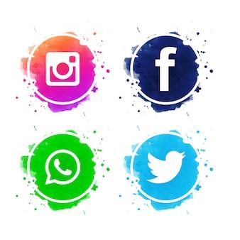 美しいソーシャルメディアのアイコンがベクトルを設定