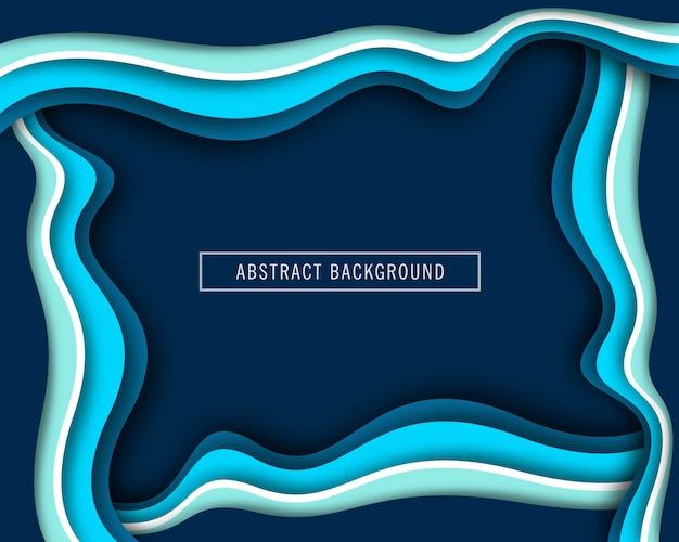 美しい波の青い紙カットデザインベクトル