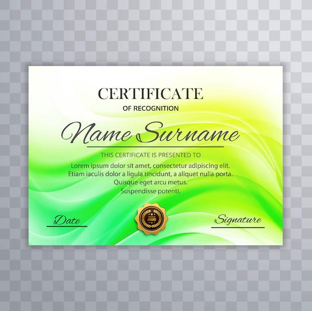 美しい緑の証明書のテンプレートデザインベクトル