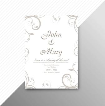 装飾的な花の背景イラストで結婚式の招待状のカードテンプレート