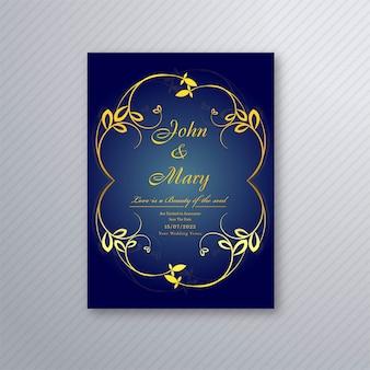 抽象的なスタイリッシュな結婚式招待状の花のテンプレートデザイン