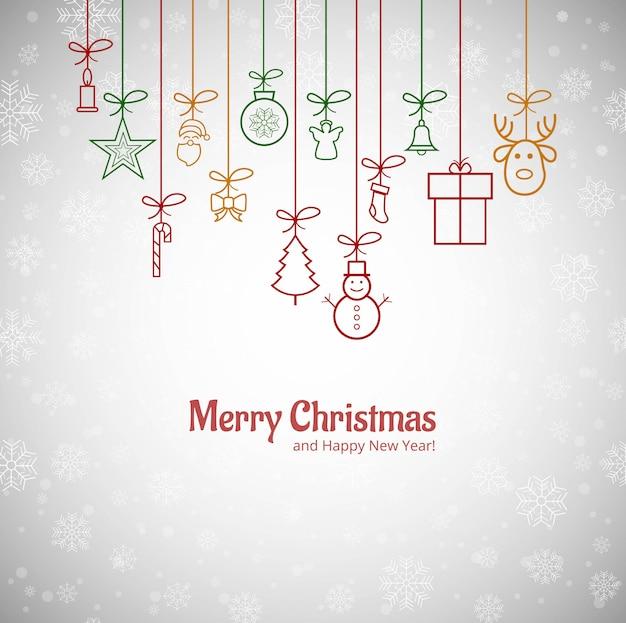 美しいメリークリスマスグリーティングカードと雪片の背景