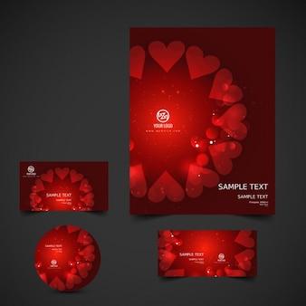 Блестящий красный валентина канцелярские