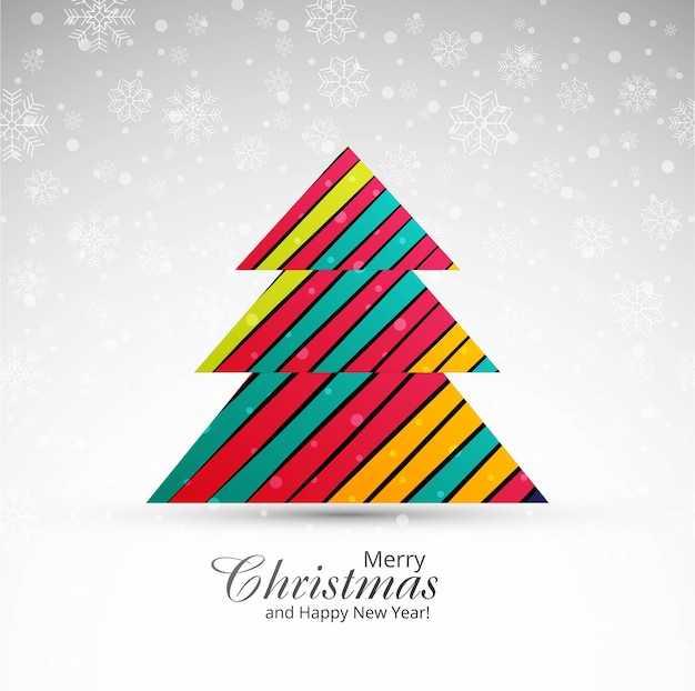 クリスマスツリーの背景とメリークリスマスの挨拶カード