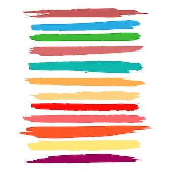 抽象的なカラフルな水彩の手の描画ストロークセット