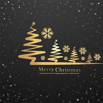 エレガントなメリークリスマスツリーカードデザインベクトル