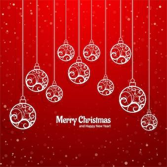 エレガントなカラフルなメリークリスマスボールグリーティングカードの背景ベクトル