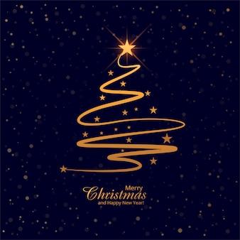 美しいメリークリスマスツリーカードの背景ベクトル