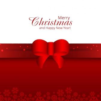 リボンの背景ベクトルとメリークリスマスカード