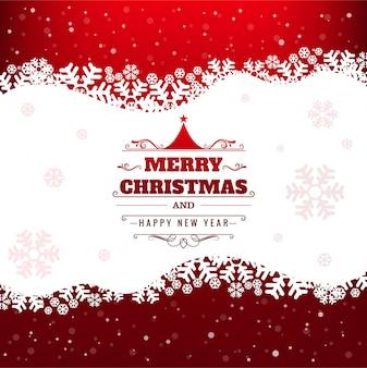 雪の結晶の背景と美しいメリークリスマスカード