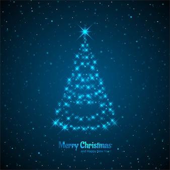 装飾的な木のデザインとメリークリスマスカード