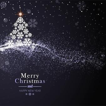 木の背景と美しいメリークリスマスカード