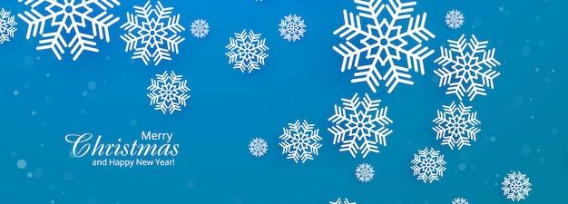 美しいメリークリスマススノーフレークブルーバナー