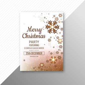 美しいメリークリスマススノーフレークカードのパンフレットのテンプレート