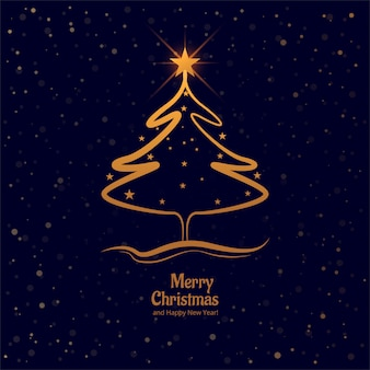カラフルなカードの背景とメリークリスマスツリー