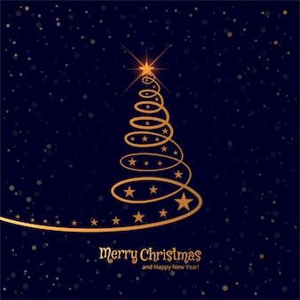 美しいメリークリスマスツリー祝賀の背景ベクトル