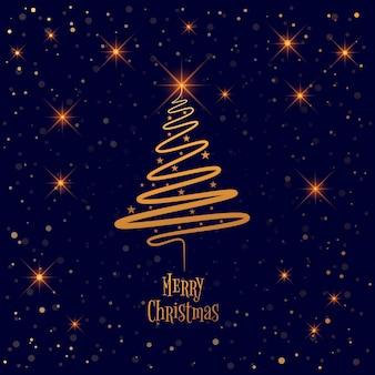 カードの背景とメリークリスマスツリー
