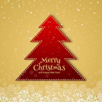 美しいメリークリスマスツリーのお祝いのカードの背景