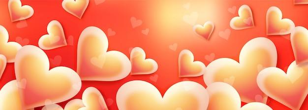 幸せなバレンタインデーの愛カードヘッダーデザインイラスト