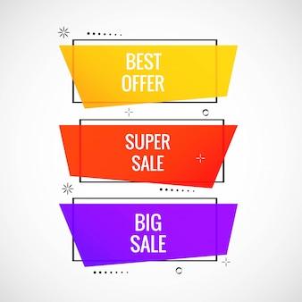 Красочный баннер продажа набор дизайн иллюстрация