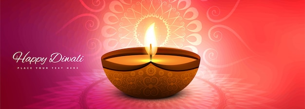 Дивали индийский фестиваль огней баннер красочный