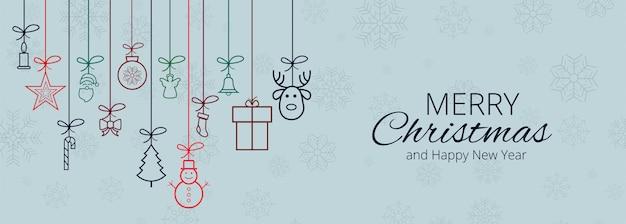 メリークリスマスクリスマス要素バナー