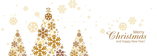 メリークリスマスカラフルなスノーフレークツリーカードバナー