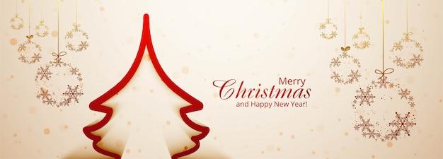 Рождественский баннер шаблон с украшениями