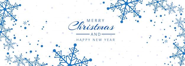 Счастливого рождества снежинки баннер шаблон
