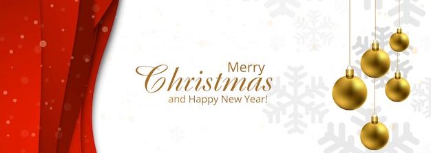 雪とボールのバナーテンプレートで豪華なクリスマスの装飾