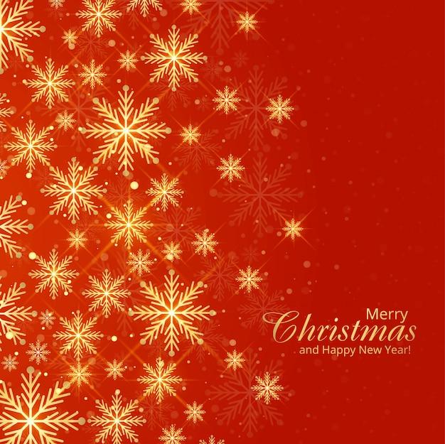 赤い色の大小の雪のクリスマスグリーティングカード