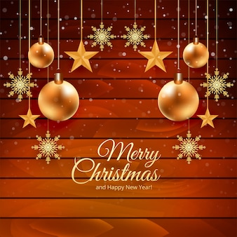 木材とクリスマスカードの背景