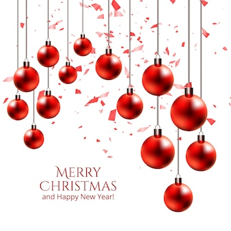 現実的な吊り光沢のあるクリスマスボール装飾ベクトル