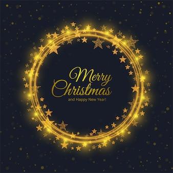 円の光沢のある星の背景を持つメリークリスマスカード
